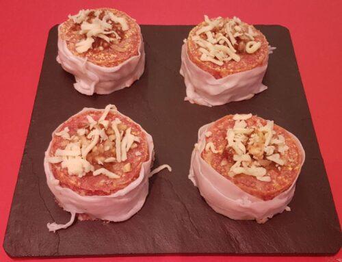 Couland de carne relleno de queso azul y cebolla caramelizada o de jamón y setas